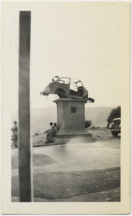 RUINED SHELL CHASSIS of CAR on PEDESTAL PLINTH VENEZUELA 1947