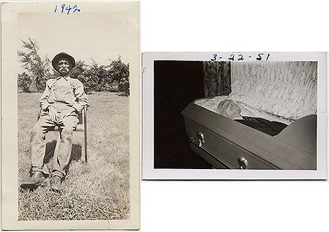 DEAD and ALIVE OLD MAN PROPPED UP but ALIVE & DEAD in COFFIN CASKET POST MORTEM