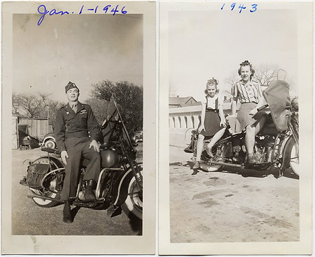 The FAMILY that BIKES TOGETHER! SERVICEMAN MOTHER DAUGHTER VINTAGE MOTORCYLES!