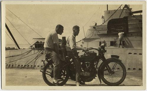 MAN & HULK BRUTE RIDING PILLION on VINTAGE MOTORBIKE MOTOR CYCLE SUBMARINE DOCK