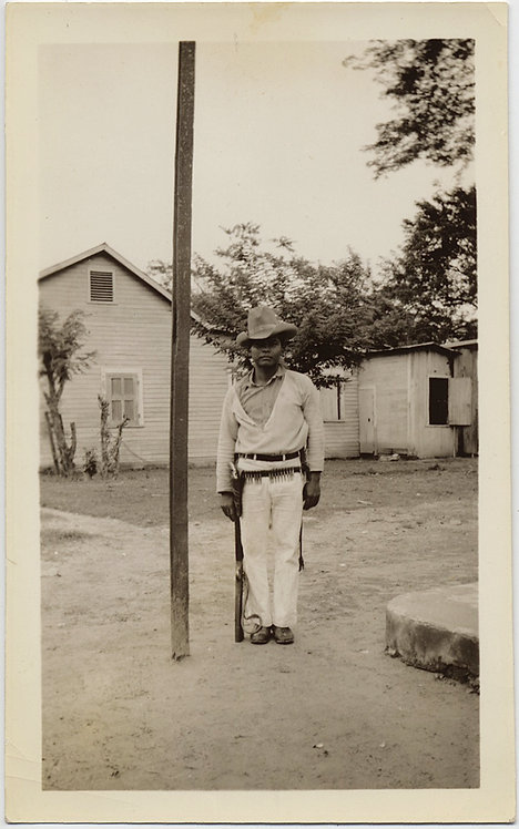 UNUSUAL HISPANIC MEXICAN? YOUNG BOY STANDS at ATTENTION w RIFLE KID SOLDIER