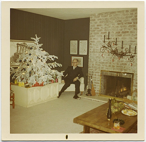 MAN in AWKWARD POSE in 60's LIVING ROOM with SILVER ALUMINUM CHRISTMAS TREE!