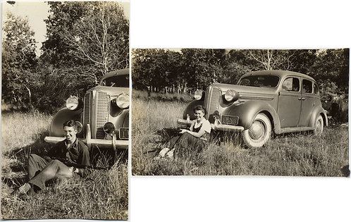WANNABE BONNIE & CLYDE ATTRACTIVE HOMELY WYOMING COUPLE GUNS VINTAGE CAR SMILES