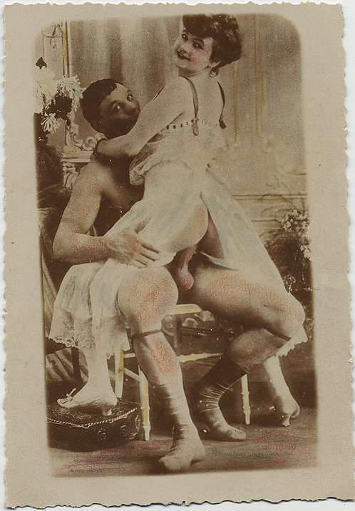 VICTORIAN COURTESAN SITS on MAN'S THICK HARD ERECT COCK HAND TINTED VINTAGE PORN