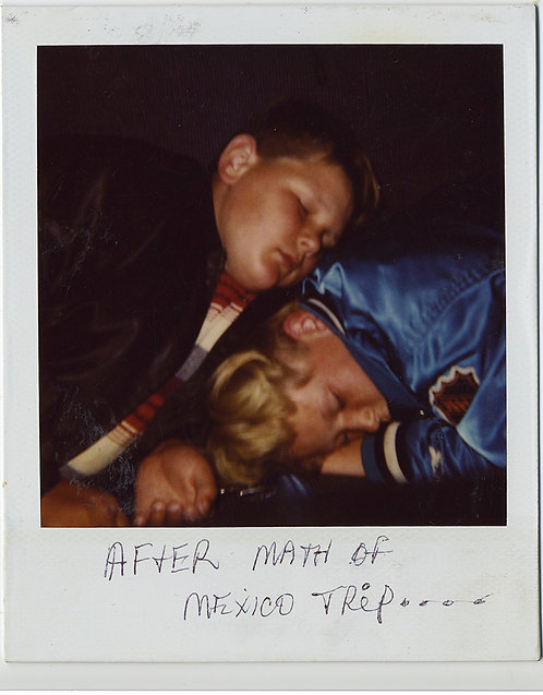AFTER MATH? or AFTERMATH of TRIP to MEXICO POLAROID 2 EXHAUSTED KIDS SLEEP
