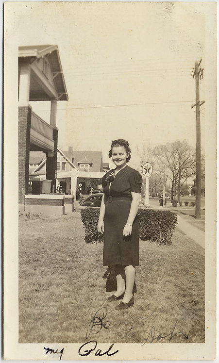 "LOVELY ""My Gal"" POSES in FRONT YARD TEXAS OIL COMPANY GAS STATION in BACKGROUND"