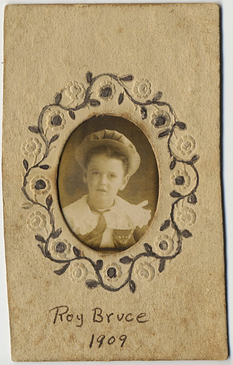 LOVELY LITTLE BOY in HAT in PRESSED PAPER EMBOSSED FRAME Roy Bruce 1909