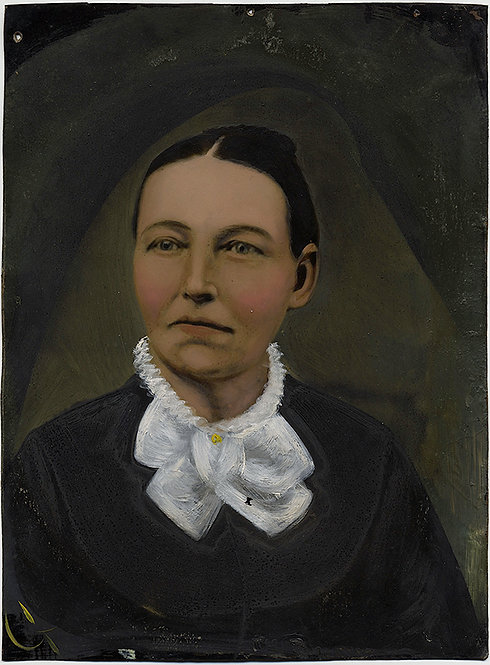 WONDERFUL VIVID COMPELLING FULL PLATE TINTYPE HAND PAINTED PORTRAIT of a WOMAN