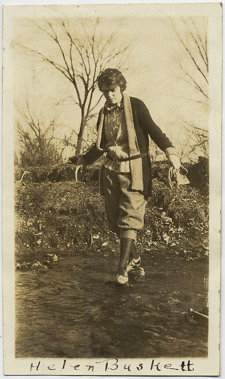 WOMAN Helen Buskett WALKS on WATER CROSSES STREAM in LOVELY SWEATER