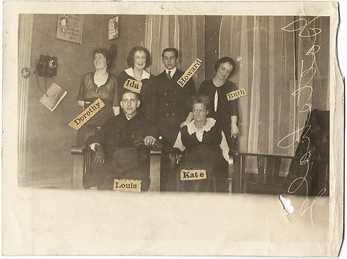 UNUSUAL GROUP PHOTO w GLUED ON NAMES and RARE NEGATIVE ABERRATION