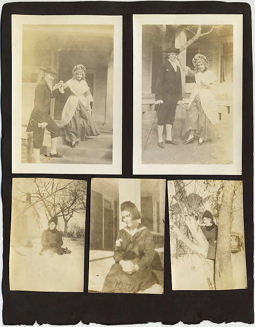 ALBUM PAGE AFFECTIONATE WOMEN CUDDLE PLAY TENNIS DRESS in DRAG COLONIAL COUPLE