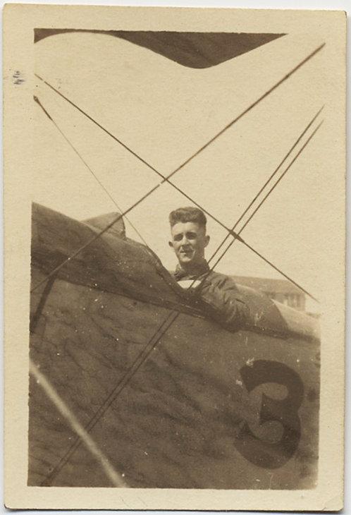 FABULOUS PROUD FLYER PILOT in DEHAVILLAND LIBERTY BI-PLANE w. CAPTION