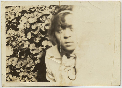AFRICAN AMERICAN BLACK WOMAN in HALF FRAME WHITE OUT DISTRESSED IMAGE