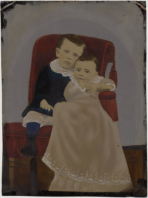 Painted Full Plate Tintype: EXRTRAORDINARY OVERSIZED BROTHER AND SIBLING