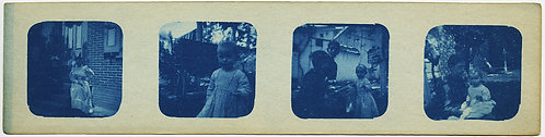 RARE & UNUSUAL: CYANOTYPE STRIP of KIDS and NANNIES / PARENT