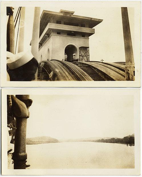 SOMEWHERE SAILING THROUGH the PANAMA CANAL 2 pix UNUSUAL