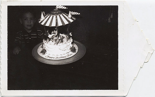 POLAROID!  Boy and CAROUSEL BIRTHDAY CAKE!