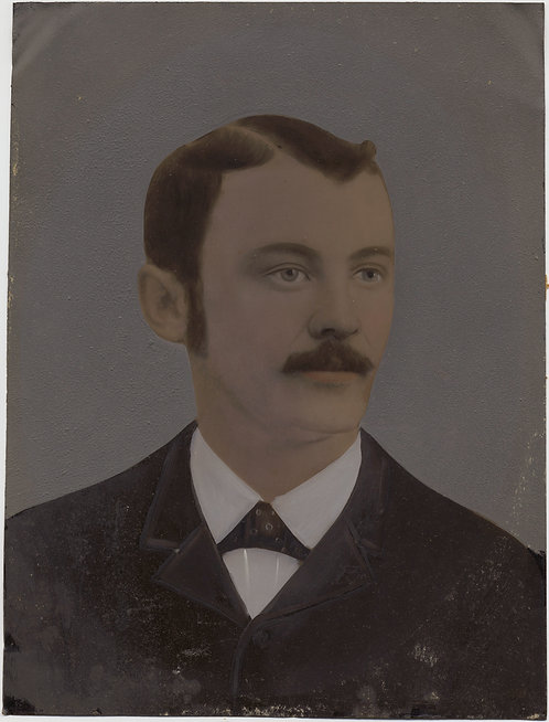Painted Full Plate Tintype: Dignified Man