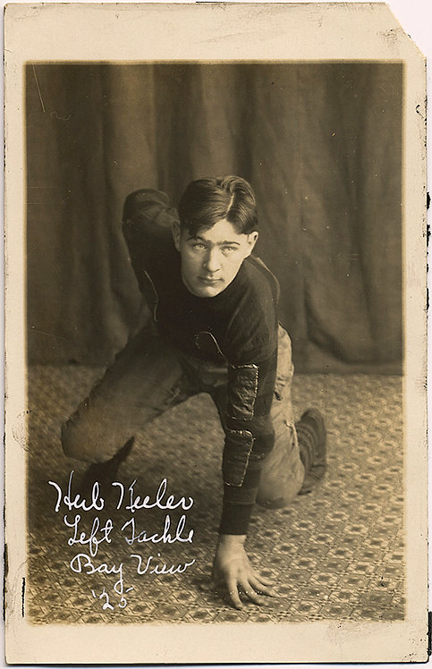 HANDSOME HERB KEELER FOOTBALL PLAYER READY to POUNCE in STUDIO