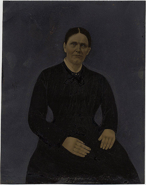 POWERFUL PORTRAIT FULL PLATE HAND PAINTED TINTYPE STRONG MANLY WOMAN FOLK ART