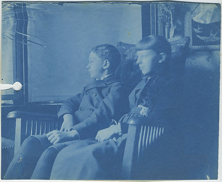 BEAUTIFUL CYANOTYPE! ELEGANT PORTRAIT of WELL DRESSED YOUNG BOY & GIRL in PARLOR