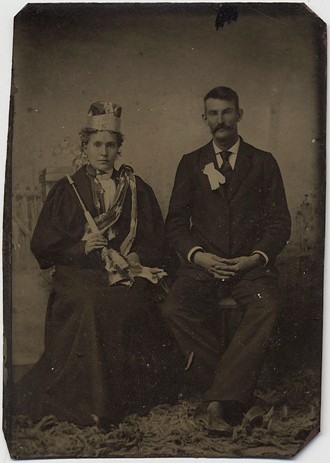 INTERESTING UNUSUAL TINTYPE of COUPLE WOMAN w BUGLE PARTY HORN STAR SASH CROWN