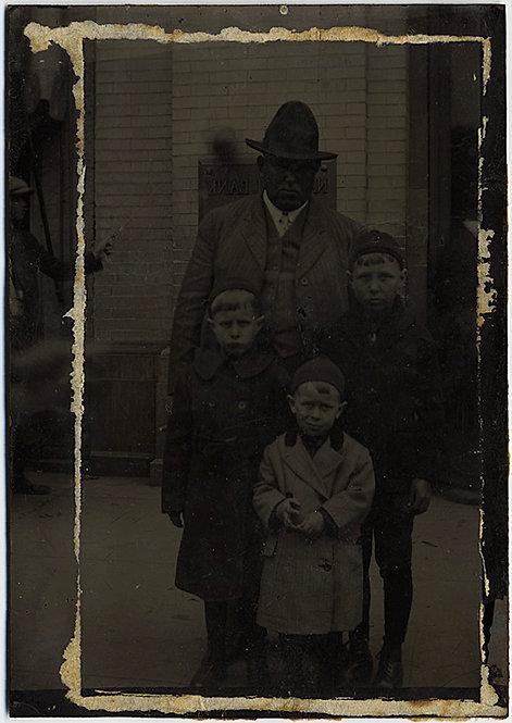 DARK UNUSUAL TINTYPE of ETHNIC ARICAN-AMERICAN? HISPANIC? MAN and WHITE CHILDREN