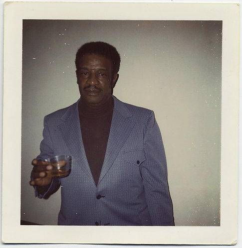 DISTINGUISHED MOODY BLACK AFRICAN AMERICAN MAN w SCOTCH WHISKEY POLAROID