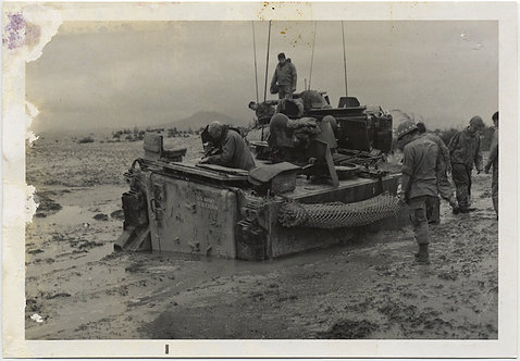 ARMORED VEHICLE stuck in MUD! VIETNAM?  WAR photo!