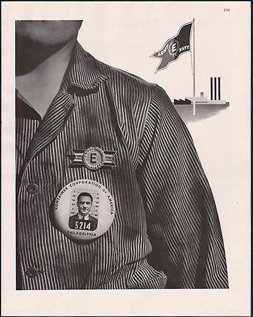 EMPLOYEE BADGE AD CONTAINER CORP of AMERICA PHILADELPHIA  Fortune Magazine 1943