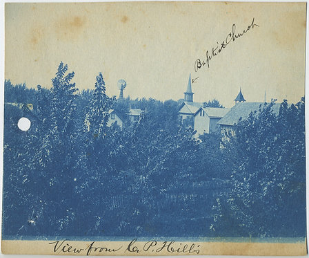CYANOTYPE of BAPTIST CHURCH from P. Hill's house