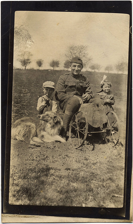 DOUGHBOY SERVICEMAN SITS on EARLY CHILD'S TOY CAR KIDS ADORABLE COLLIE DOG RPPC