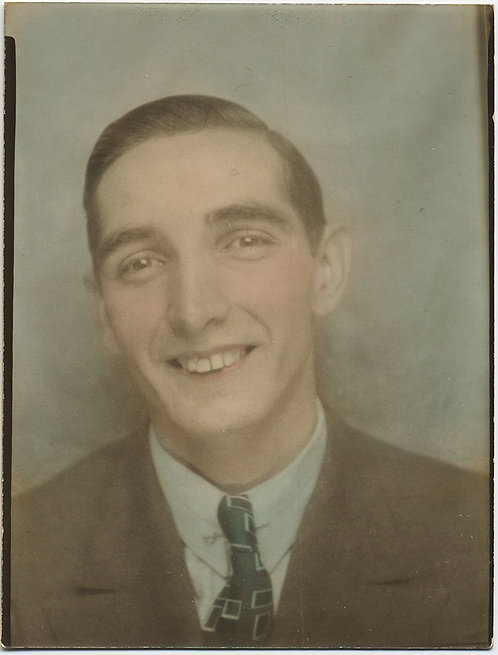 LARGE DIRECT POSITIVE SUBTLY HAND TINTED PHOTOBOOTH-like PORTRAIT TOOTHY MAN