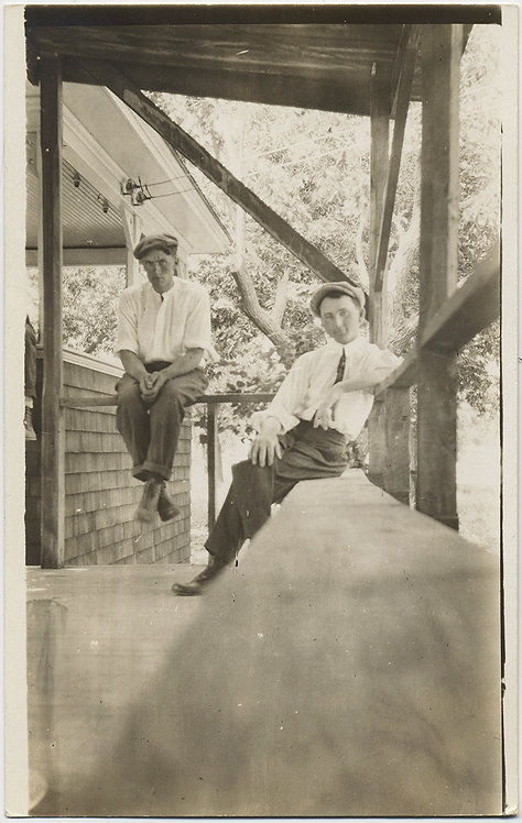 LOVELY RPPC CHARMING YOUNG MEN in CAPS CHILL on WOODEN PORCH SELF TIMED SELFIE?
