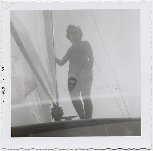 GHOSTLY DOUBLE EXPOSURE WOMAN in BATHING SUIT and MAN on SAIL BOAT
