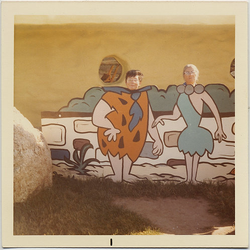 LOVELY ROADSIDE PHOTO OP HEADS on FLINTSTONES CARTOON BODIES Me & Ma