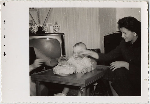 BABY'S FIRST BIRTHDAY CAKE OVERSEEN by 50s TV and GRABBING ADULTS March 59