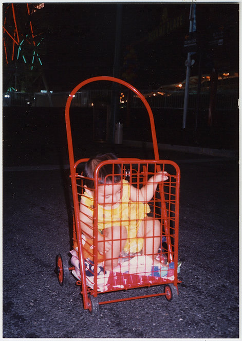 YOUNG CHILD TAKEN to MARKET in SHOPPING TROLLEY BASKET KID for SALE