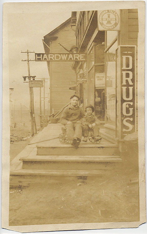 MAN and KID POSE OUTSIDE HARDWARE DRUG STORE GREAT SIGNAGE
