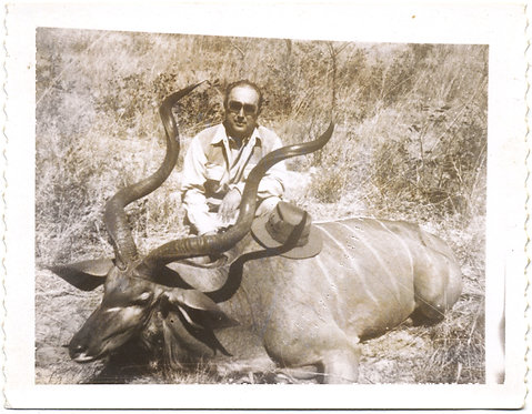 POLAROID of HUNTER RESTS HAT on DEAD KUDU BUCK ANTELOPE HUNTING WILDLIFE