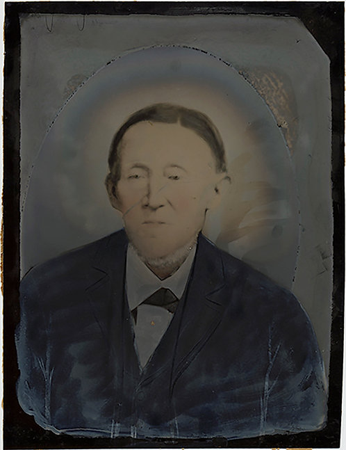UNUSUAL ALMOST SOLARIZED FOLK ART FULL PLATE PAINTED TINTYPE PORTRAIT of OLD MAN