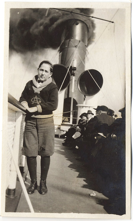 LOVELY BOY in KNICKERBOCKERS on TOP DECK BILLOWING SMOKE FUNNEL SHIPBOARD