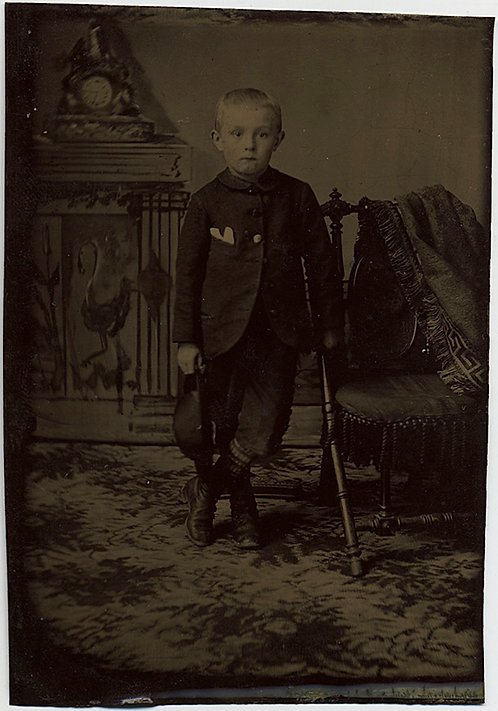 LOVELY YOUNG BOY with HAT in ELABORATE STUDIO SET UP TINTYPE