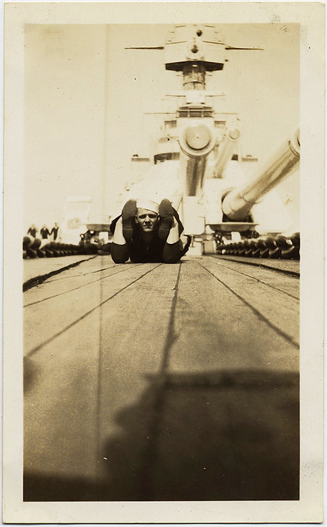 FUNKY SAILOR CREATES TRICK CONTORTIONIST PHOTO on BOARD WARSHIP LOW ANGLE LOVELY