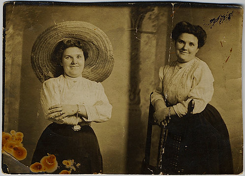 PHOTOBOOTH DIPTYCH of WOMAN! IN BIG STRAW HAT and WITHOUT