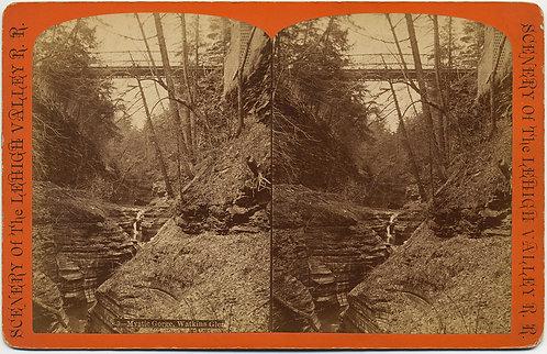 WATKINS GLEN MYSTIC GORGE STEREOVIEW G F GATES RAILROAD BRIDGE Lehigh Valley RR