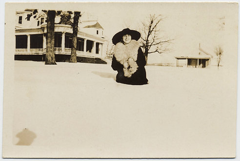 ELEGANT WOMAN in FANCY HAT FUR COLLAR COAT WAIST DEEP in SNOW