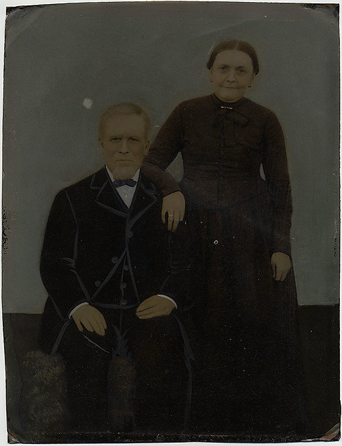 DIGNIFIED COUPLE FULL PLATE TINTYPE HAND PAINTED FOLK ART
