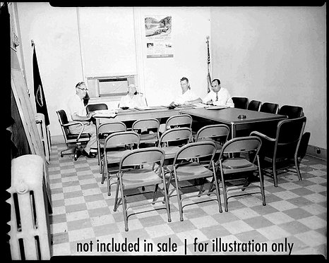 4x5 NEGATIVE PRESS PHOTO MEN WAIT for TOWN MEETING w NO ATTENDEES to START! GRIM