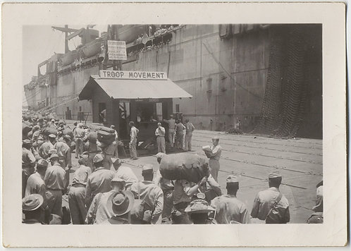 CROWD of TROOPS WAIT to BOARD SHIP at TROOP MOVEMENT STATION UNUSUAL WAR